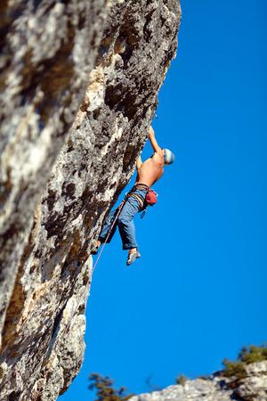 lead rope: Hiking photographer taking pictures. Trek around Annapurna mount. Stock Photo