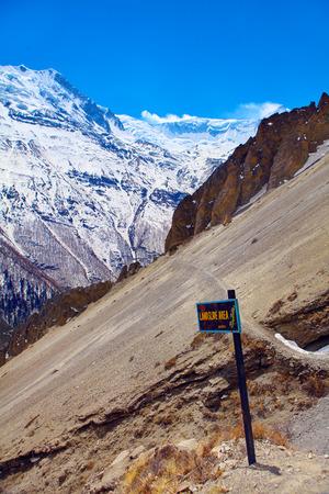 land slide: Snow capped mountains. Himalaya, Nepal. Land slide area. Trek around Annapurna mount