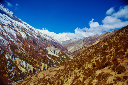 snow capped mountains: Snow capped mountains. Walley of the mountain river. Himalaya, Nepal