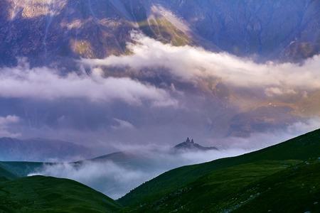swanetia: Caucasus green hills and mountains, on the sunset. Georgia Stock Photo