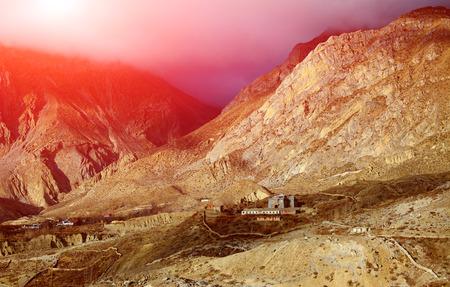 monastery nature: monastery in the mountains. Muktinath, Himalaya, Nepal. Trek around Annapurna mount