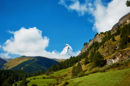 snow capped mountains: Snow capped mountains.  Switzerland, Trek near Matterhorn mount. Stock Photo
