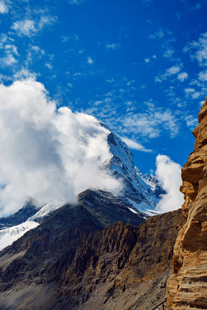 snow capped mountains: Snow capped mountains.   Trek near Matterhorn mount. Stock Photo