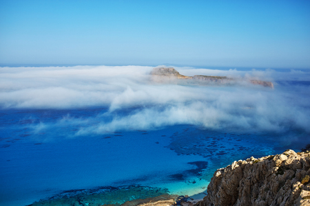 azure: panoramic view from the top of cliff on Balos beach, Crete, Greece