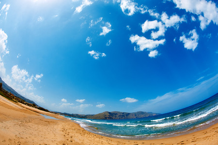 azure: panoramic view on sunny beach, Crete, Greece