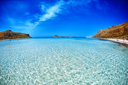 azure: panoramic view on Balos beach, Crete, Greece. light sand under the clear water in the foreground.