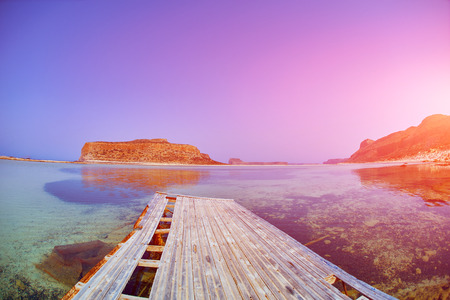 azure: panoramic view on Balos beach, Crete, Greece Stock Photo