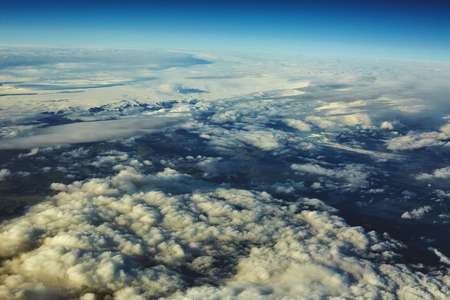 Clouds. sky with clouds at sunset or sunrise. sunset with a height of 10 000 km. Top view