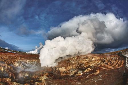 grindavik: Gunnuhver Hot Springs at Grindavik, Iceland. The mud pools and steam vents on the southwest part of Reykjanes, Iceland.
