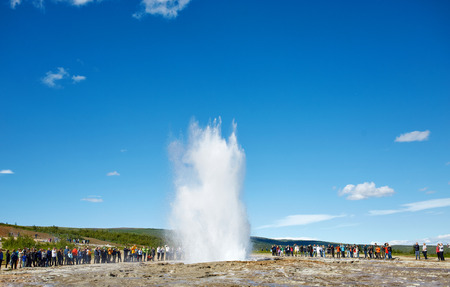 Summer in Iceland. Eruption of Strokkur Geyser in Iceland. Magnificent geyser Strokkur. Fountain Geyser throws azure water every few minutes