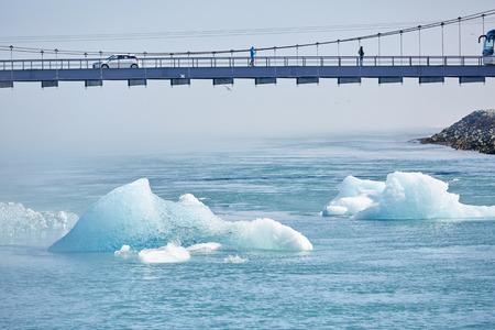 Iceland, Jokulsarlon lagoon, Beautiful cold landscape picture of icelandic glacier lagoon bay and bridge,