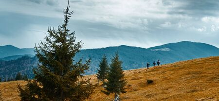 beautiful view of an autumn mountain landscape with a cloudy sky, Western Ukraine. group of hikers walking trail ont mountain slope Imagens