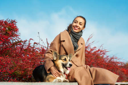 Pretty autumn woman in coat sits with her Welsh Corgi dog against bright red fall leaves and blue sky. Concept autmn dog walking Imagens - 153423115