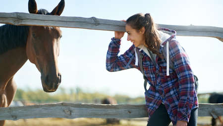 Delighted woman in casual coat on countryside enjoying time at farm or ranch, looking at horse . Animals, friendship and hobby concept.