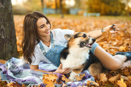 young woman together with cute Welsh Corgi Pembroke dog at fall park. female owner playing with pet, orange foliage background. Concept friendship with dog and human. Focus on dog