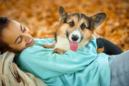 close-up portrait woman with pet outdoors together, lying on foliage at autumn park, girl embracing Welsh Corgi dog Imagens