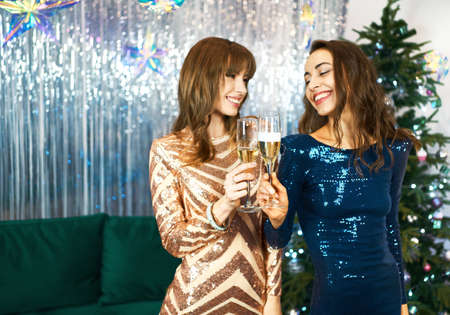 two dressy charming women on Christmas or New Year party, cheering with sparkling wine, enjoying celebration Imagens