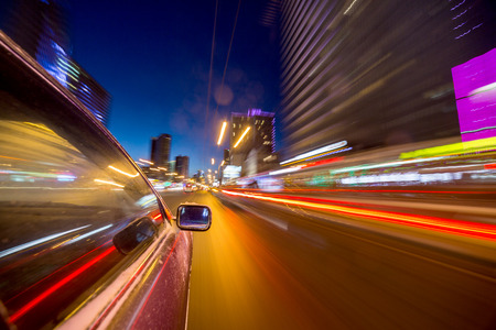 blurred urban look of the car movement nights long exposure Stock Photo
