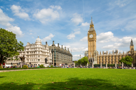 Big Ben and the Palace of Westminster, side from Parliament Square Garden, landmark of London, UK Stock Photo