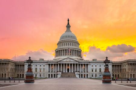The United States Capitol building in Washington DC, sunrise