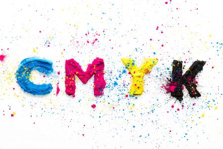 CMYK colour toner for printer cyan magenta yellow on white background Stock fotó