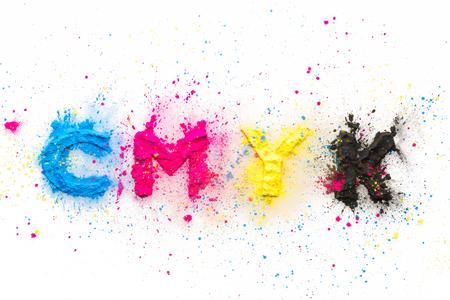 CMYK colour toner for printer on white background