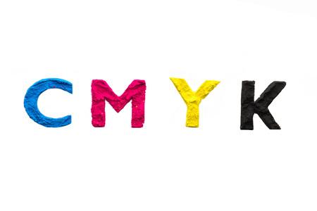 CMYK colour toner for printer cyan magenta yellow on white background Stock Photo