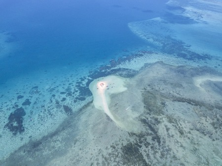 Beautiful Zanzibar Nungwi beach with blue Indian ocean aerial view