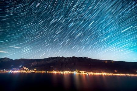 Star Trails over Lake Garda in Italy