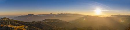 Panorama Catalan Pyrenees on sunset El Cadi i Peak of Pedraforca in the far distance