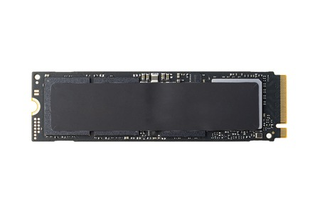 NVME M2 SSD disk for data storage at high speed closeup on white isolated background