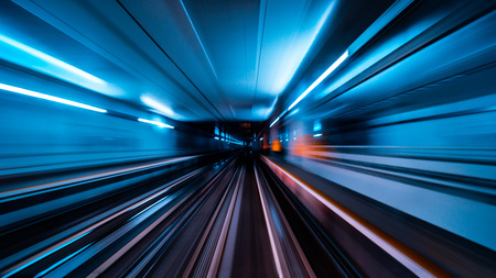 Train moving fast in the tunnel abstract background Reklamní fotografie