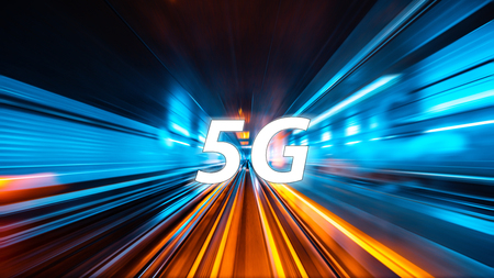 Moving forward motion blur background with 5G network wireless system internet of things with abstract connected dots wireless communication network on speed background. Communication network concept
