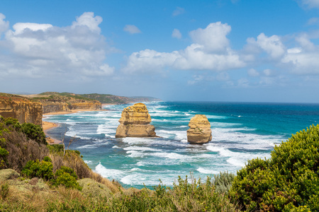 The rock stacks that comprise the Twelve Apostles in Port Campbell National Park. Great Ocean Road, Victoria State, Australia.
