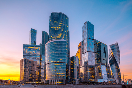 Skyscrapers of Moscow City business center and Moscow river in Moscow at sunset, Russia. Architecture and landmark of Moscow