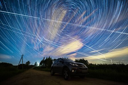 Star Trails Above a car Astrophotography Night Sky Photography