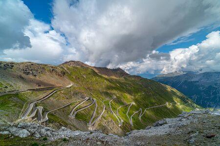 Scenic Stelvio Pass. Italian Mountain Pass Road Scenery.