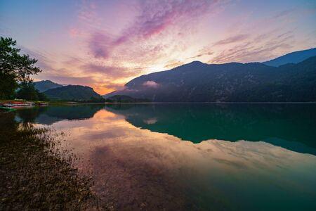 Summer sunrise landscape of the lake Corlo, Italy Archivio Fotografico
