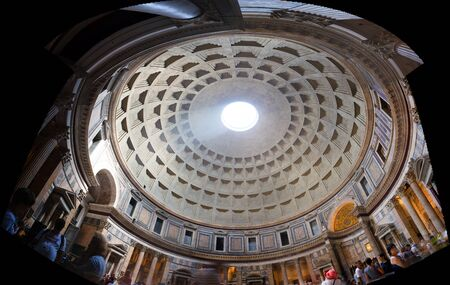 Ancient architectural masterpiece of Pantheon in Roma, Italy. Panorama of inside interior Imagens