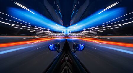 Abstract double symmetrical image of vehicular lights at night Imagens