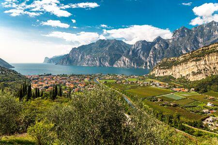 Gardasee und Weinberge in der Nähe der Stadt Torbole, Südtirol, Italien, Europa