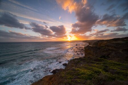 Sunset from Split Point Lookout, Lorne seaside town, Great Ocean road, Melbourne, Victoria, Australia