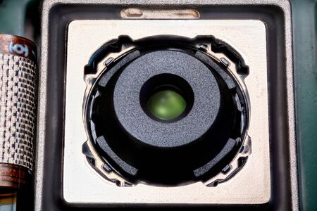 Mobile phone camera module with image stabilisation extrime close up. Stock Photo