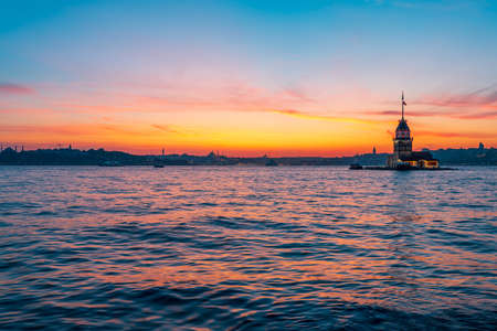 Maidens tower and city panorama at sunset time - Istanbul, Turkey Stock Photo