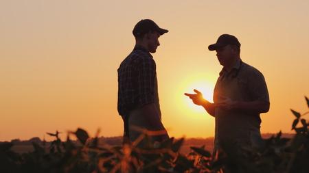 Ein junger und älterer Bauer, der bei Sonnenuntergang auf dem Feld plaudert