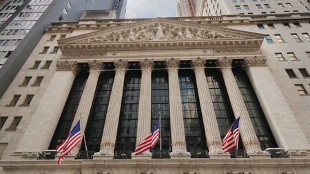 New York, USA, September 2018: Stock Exchange Building located on Wall Street in New York, the main US stock exchange, the largest in the world in terms of turnover.