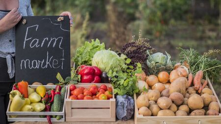 Farmers hands holding a sign. Farmers market near the counter with seasonal vegetables