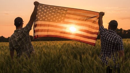 Two men energetically raised the US flag in a picturesque field of wheat Stok Fotoğraf