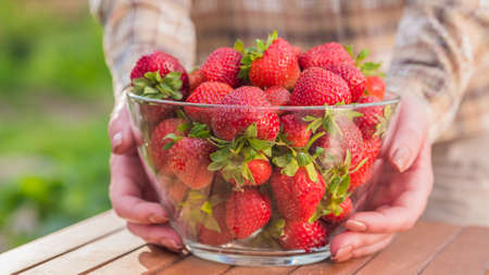 The woman put on the table a large bowl with delicious ripe strawberries