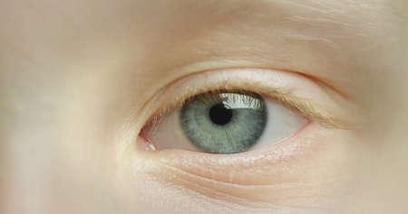 Blue beautiful eye of a little girl. Macro shot